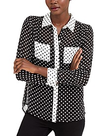 INC Mixed-Print Button-Up Shirt, Created for Macy's