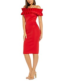 Off-The-Shoulder Ruffle Sheath Dress