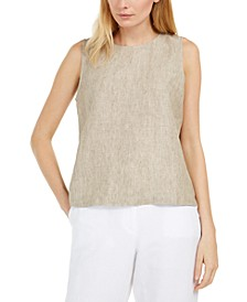 Keyhole-Back Linen Shell Top, Regular & Petite Sizes