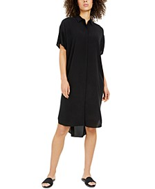 Silk Short-Sleeve Shirtdress, Regular & Petite