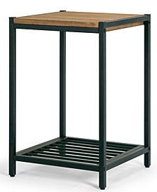 Ailis Pine Wood Metal Frame End Table Accent Table