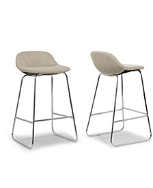 Set of 2 Agalia Modern Cream Fabric Chrome Frame Low Back Bar Stool