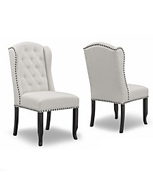 Set of 2 Alen Fabric Dining Chair Wing Chair with Tufted Buttons and Nail Heads