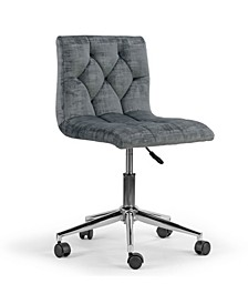 Amali Velvet Upholstered Adjustable Height Swivel Office Chair with Wheel Base