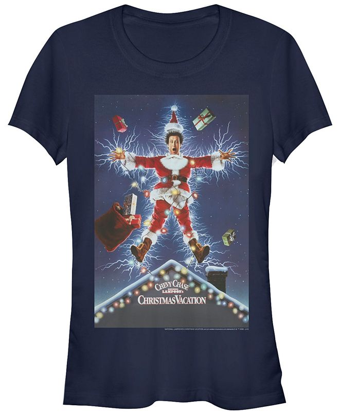 Fifth Sun National Lampoon's Christmas Vacation Clark Griswold Electric Santa Poster Women's Short Sleeve T-Shirt