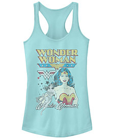 Fifth Sun DC Wonder Woman Portrait Star Logos Women's Racerback Tank