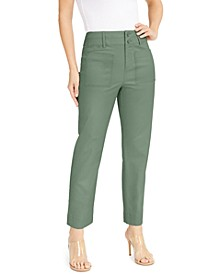 INC Petite Patch-Pocket Cropped Straight-Leg Pants, Created for Macy's