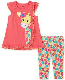Baby Girls 2-Pc. Giraffe Ruffle Tunic & Printed Leggings Set