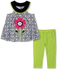 Baby Girls 2-Pc. Flower Tunic & Dot-Print Leggings Set