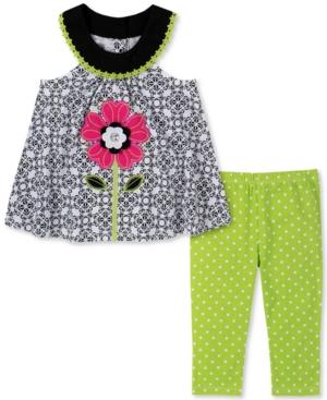 Kids Headquarters Baby Girls 2-Pc. Flower Tunic & Dot-Print Leggings Set