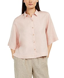 Petite Elbow-Sleeve Button-Front Top