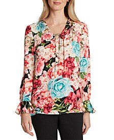 Floral Tie-Neck Ruffled Blouse