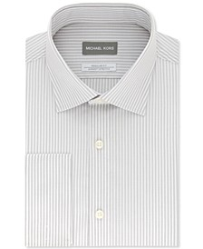 Men's Classic/Regular-Fit Non-Iron Airsoft Performance Stretch Silver Stripe French Cuff Dress Shirt