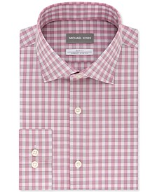 Men's Slim-Fit Non-Iron Airsoft Performance Stretch Cherry Red Check Dress Shirt