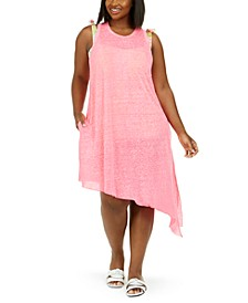 Trendy Plus Size Beach Date Asymmetrical Cover-Up Dress