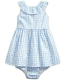 Baby Girls Cotton Floral Gingham Dress & Bloomer