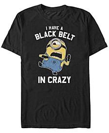 Minions Men's Black Belt In Crazy Short Sleeve T-Shirt