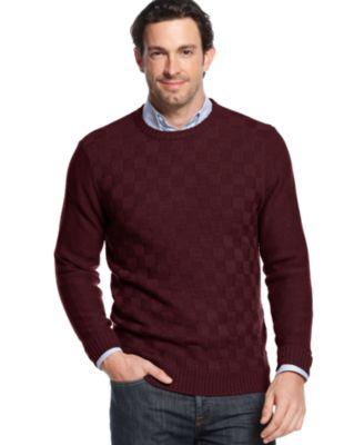 Geoffrey Beene Basketweave Crew Neck Sweater