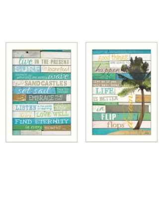 Live in The Present Collection By Marla Rae, Printed Wall Art, Ready to hang, White Frame, 10