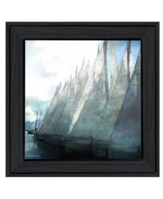 Sailboat Marina I by Bluebird Barn Group, Ready to hang Framed Print, White Frame, 15