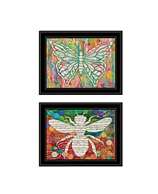 Trendy Decor 4U Silhouette of Bee Butterfly 2-Piece Vignette by Lisa Morales Collection