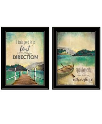 Right Direction / Adventure 2-Piece Vignette by Marla Rae, White Frame, 15