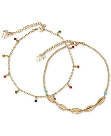 Gold-Tone 2-Pc. Set Muticolor Crystal Ankle Bracelets
