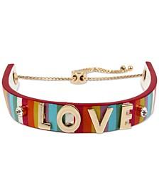 Multicolor Love Striped Leather Slider Bracelet