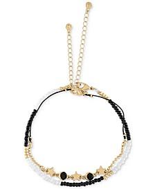 Gold-Tone Black & White Bead Charm Anklet