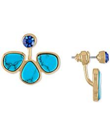 Gold-Tone Stone Cluster Floater Earrings