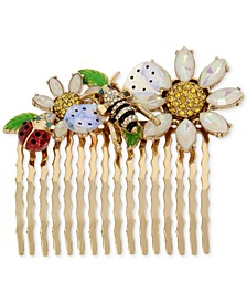 Gold-Tone Crystal Floral-Motif Hair Comb