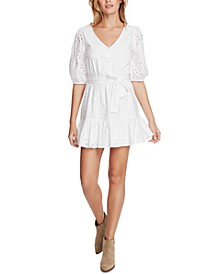Eyelet-Embroidered Ruffled-Hem Mini Dress