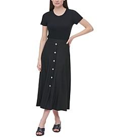 Buttoned A-Line Linen Skirt