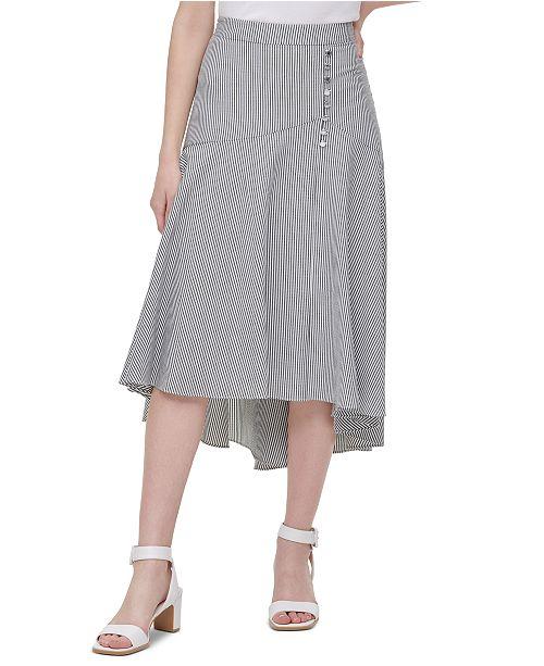 Calvin Klein Striped High-Low Skirt