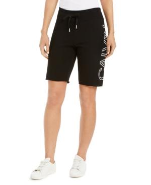 Calvin Klein Performance Logo Bermuda Shorts In Black
