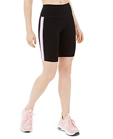 Ribbed-Stripe High-Waist Bike Short