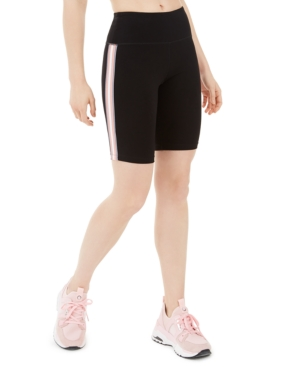 Calvin Klein PERFORMANCE RIBBED-STRIPE HIGH-WAIST BIKE SHORT