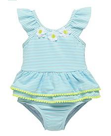 Toddler Girls One Piece Seersucker Bathing Suit