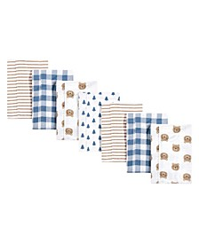 Baby Girls and Boys Little Bear Flannel Burp Cloths, Pack of 7