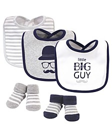 Baby Boys Little Big Guy Bib and Sock Set, Pack of 5