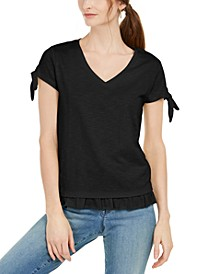 Tie-Sleeve Ruffled Top, Created for Macy's
