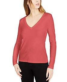 INC Cotton V-Neck Top, Created for Macy's