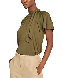 Tie-Neck Flutter-Sleeve Top
