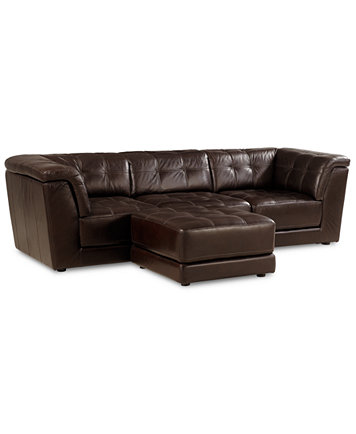 Stacey Leather 4-Piece Modular Sectional Sofa (Armless Chair, 2 Square Corner Units and Ottoman) - Furniture - Macy's