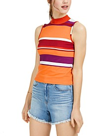 Juniors' Striped Mock-Neck Top