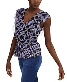 INC Petite Ruffled Tie-Front Top, Created for Macy's