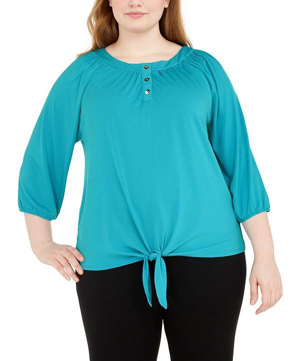 Adrienne Vittadini Plus Size Dot-Print Top