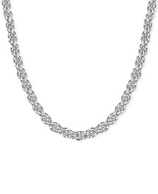 """Fine Silver Plated Rope Link 18"""" Chain Necklace"""
