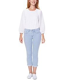 Chloe Railroad-Striped Tummy-Control Capri Jeans