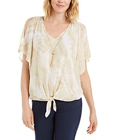 Petite Split-Sleeve Necklace Top, Created for Macy's